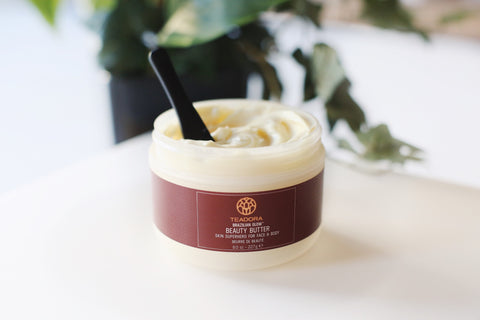 teadora beauty butter with themed background