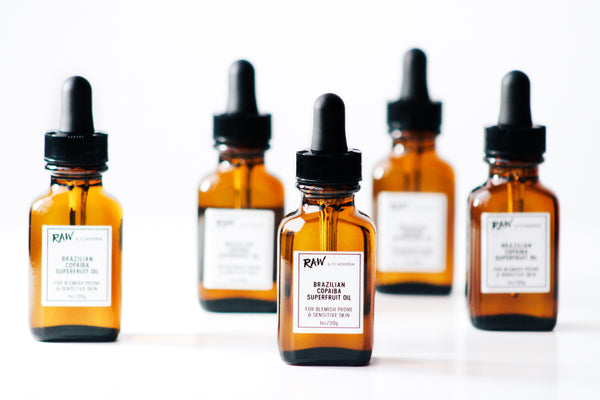 amber bottles of copaiba oil from Teadora
