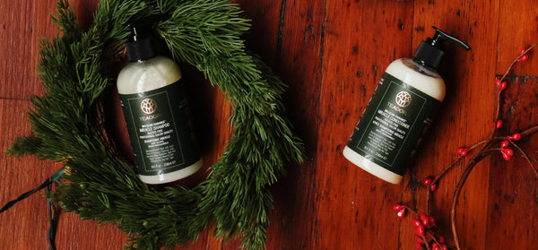 teadora shampoo and conditioner with holiday accessories