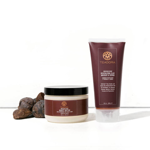 Hair & Skin Superfood Conditioning Set - Shampoo, Conditioner, Brazilian Glow Superfruit Elixir Oil
