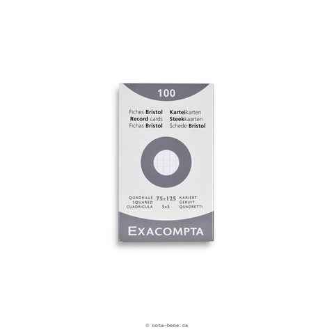 Exacompta Fiches Bristol Blanc Quadrillé 75x125 • Index Cards White Grid [13201E]