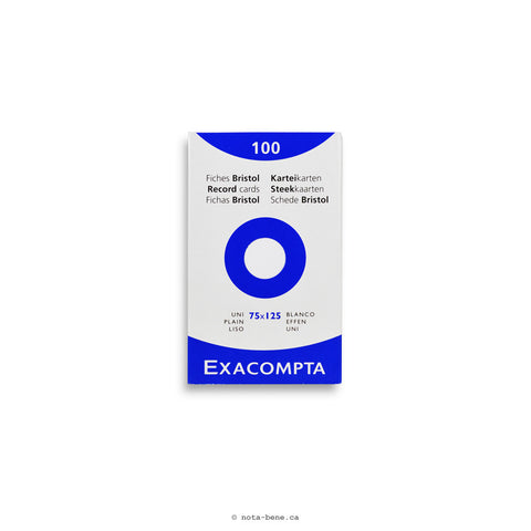 Exacompta Fiches Bristol Blanc Unies 75x125 • Index Cards White Blank [13301E]