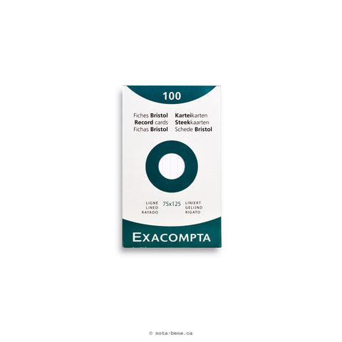 Exacompta Fiches Bristol Blanc  Ligné 75x125 • Index Cards White Lined [13801X]