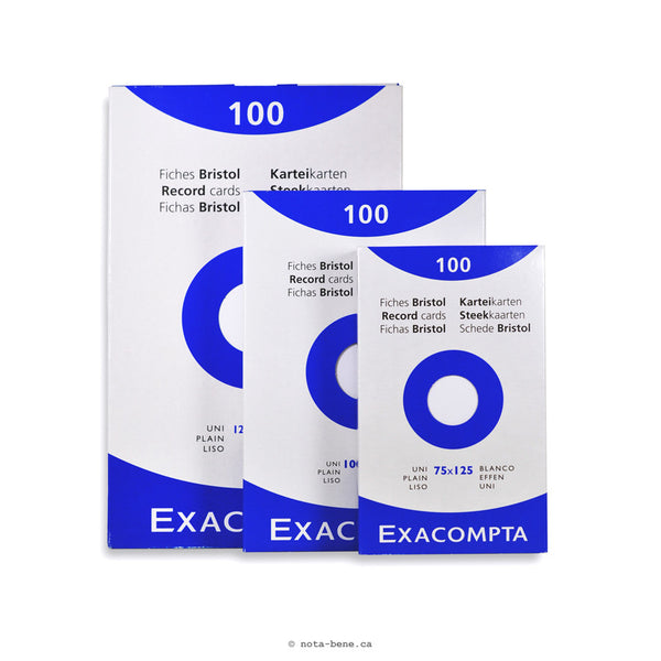 Exacompta Fiches Bristol Blanc Unies 100x150 • Index Cards White Blank [13302E]