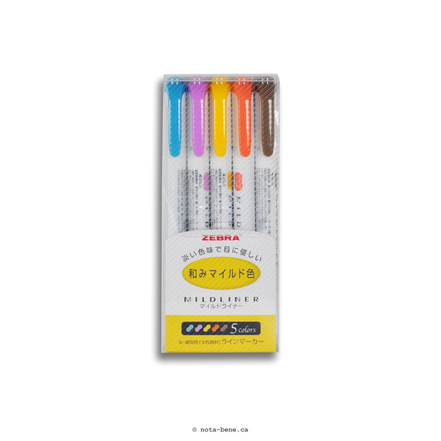 Zebra Surligneurs Mildliner (paquet de 5) • Mildliner highlighters (pack of 5) [WKT7-5C-RC]