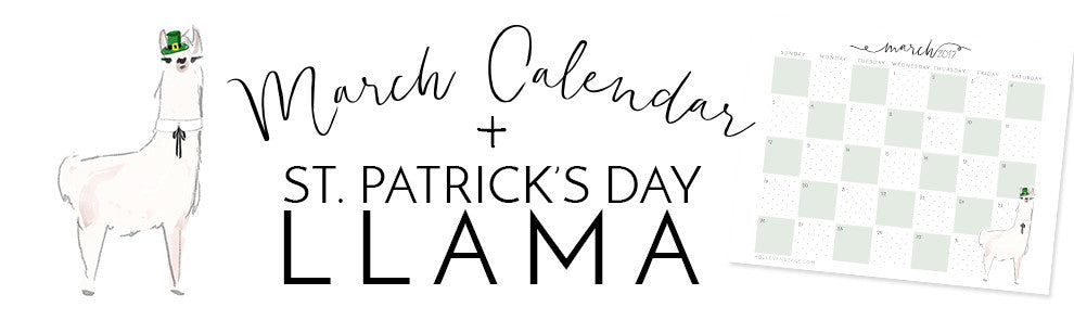 March Calendar and St. Patrick's Day Llama