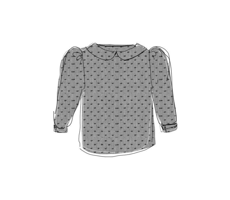 Long Sleeve Black Swiss Dot Puff Sleeve Blouse