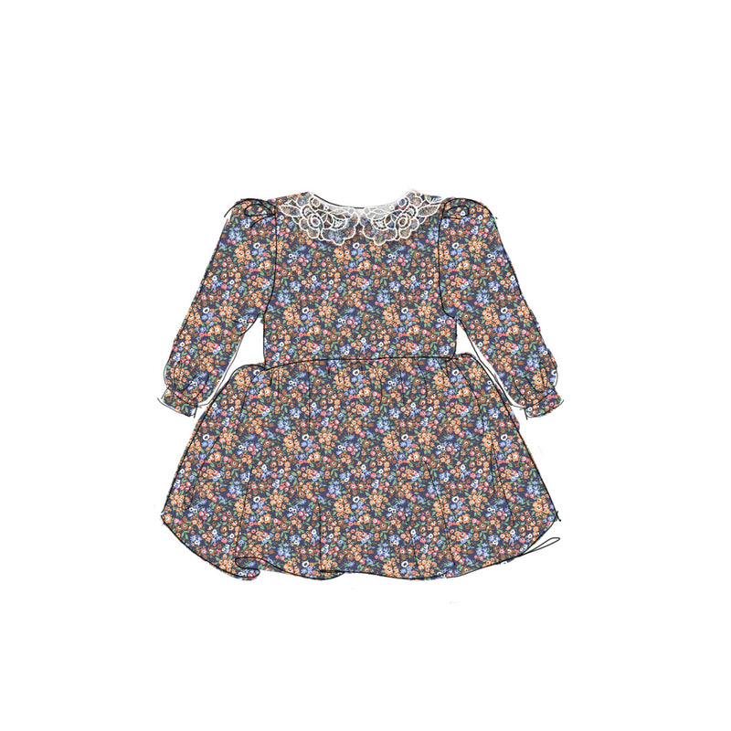 Fall Floral - Vintage Style Basque Dress