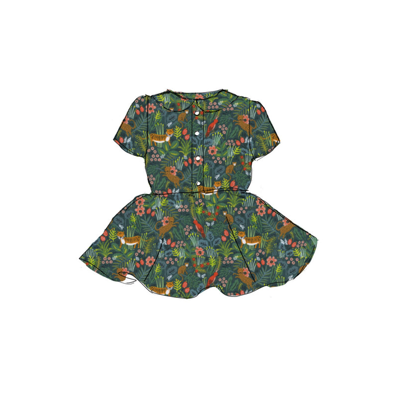 Green Jungle - Button Front Twirl Dress