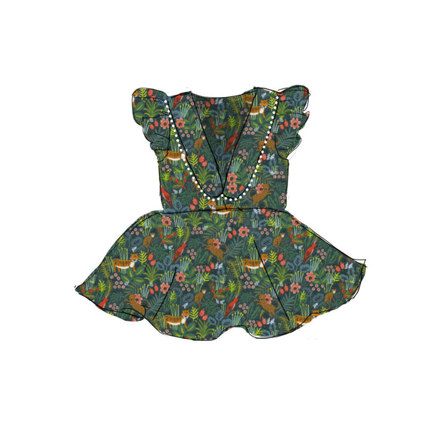 Green Jungle - Collared Back Twirl Dress