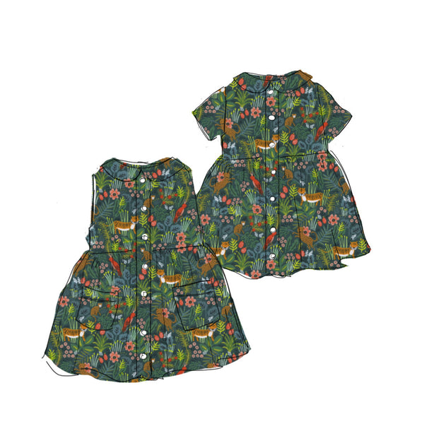 Green Jungle - Smock Dress