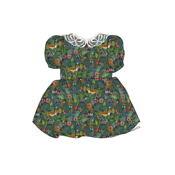 Green Jungle - Vintage Style Basque Dress