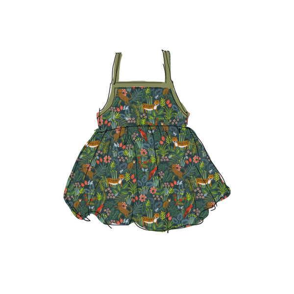 Green Jungle - Tie Back Sundress