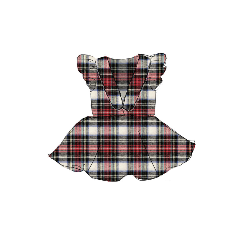 Holiday Flannel - Collared Back Twirl Dress