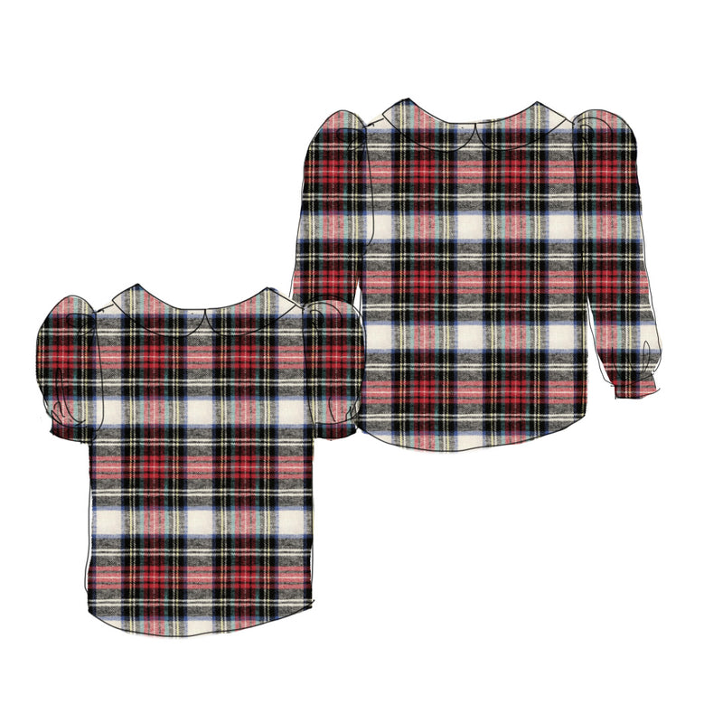 Holiday Flannel - Puff Sleeve Blouse