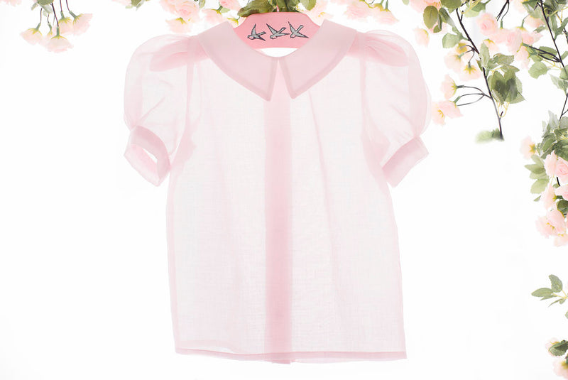 Pink Sheer Puff Sleeve Blouse