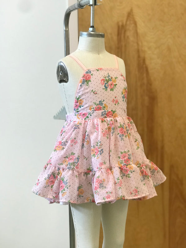 Pink Floral Voile Party Dress -  4T
