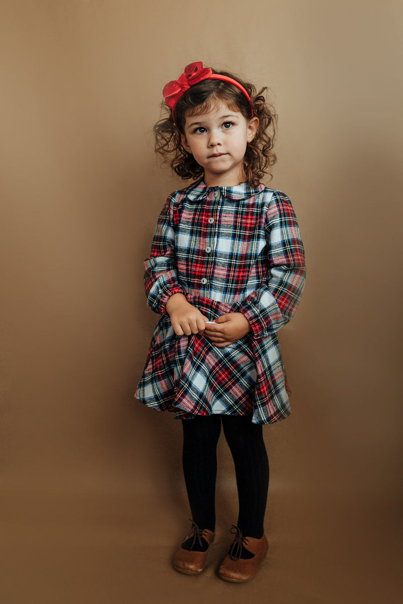 Holiday Flannel - Button Front Twirl Dress