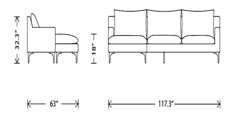 Anders Sectional Sofa Dimensions