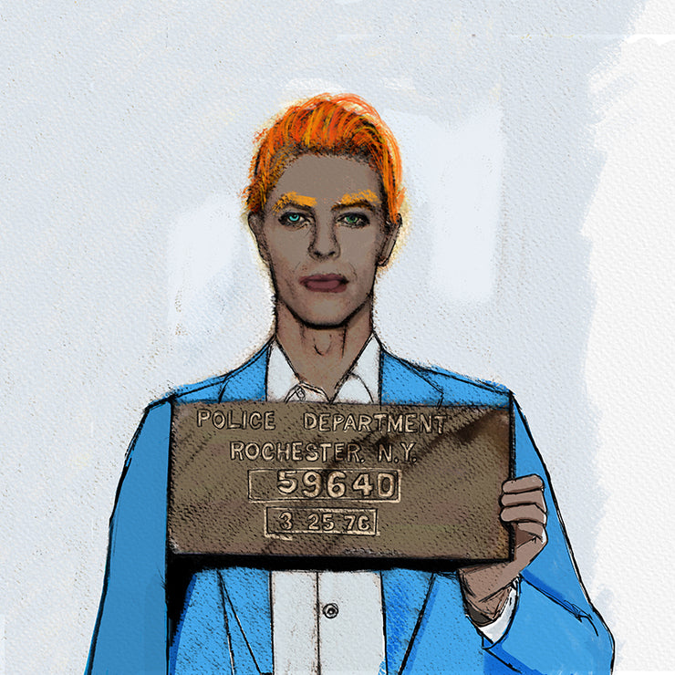 Bowie Mug Shot Pillow by Persnickety Design