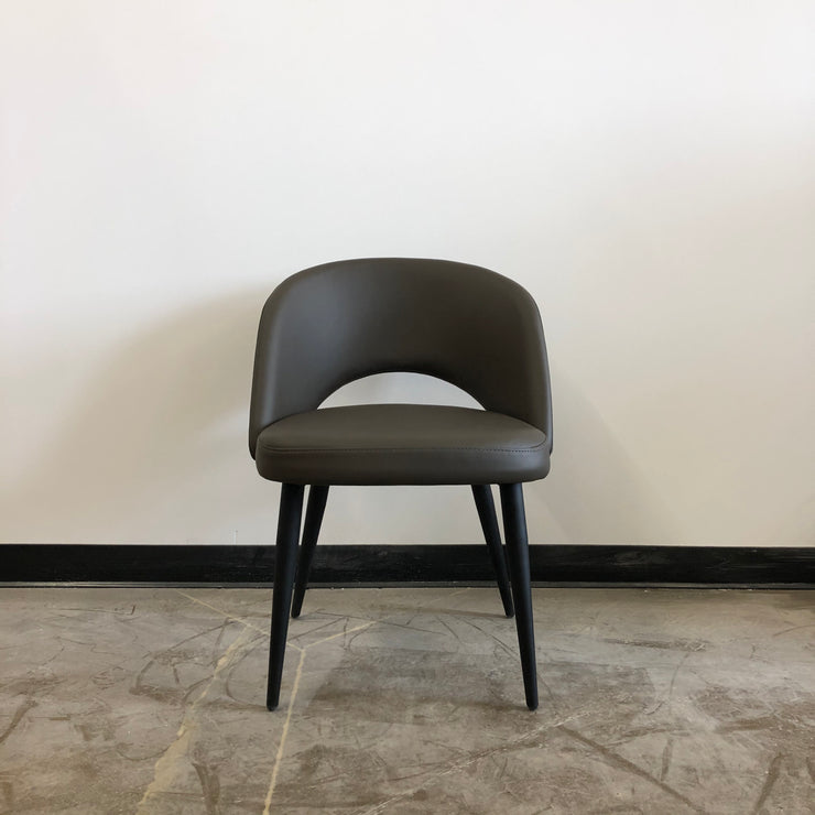 Henrick Dining Chair - Grey Leatherette and Black Base