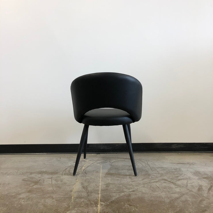 Henrick Dining Chair - Black Leatherette and Black Base