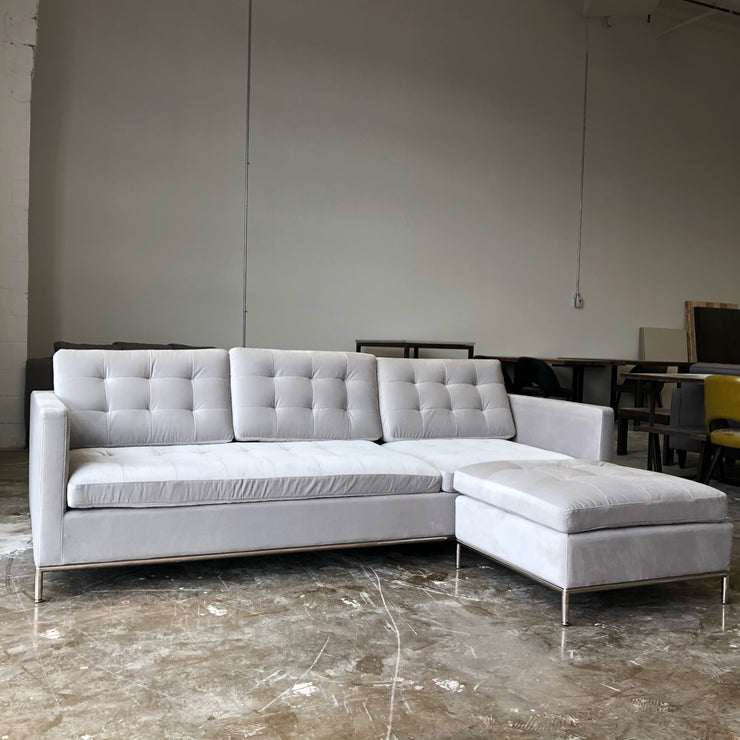 Taxim Reversible Sectional - Light Grey Velvet