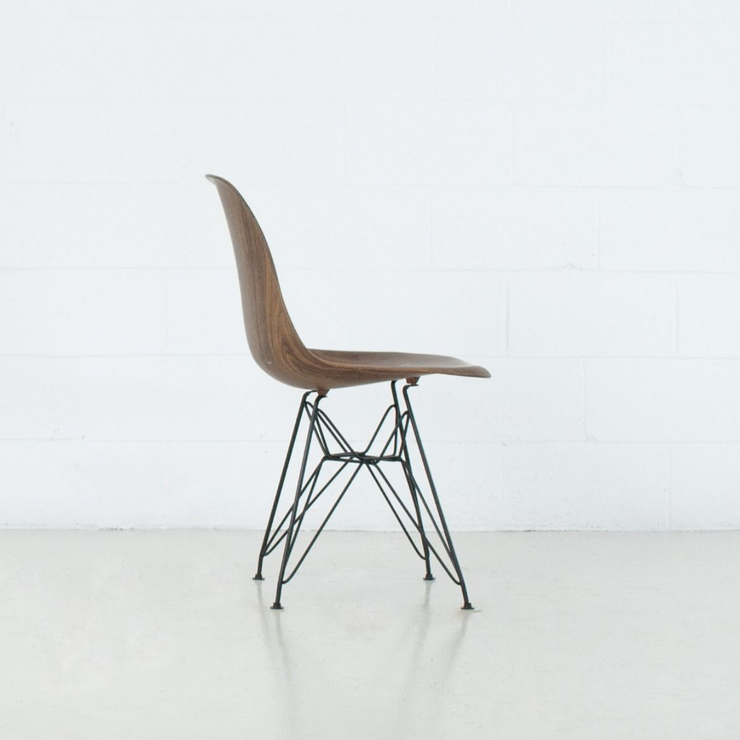 Walnut Eiffel Dining Chair with Black Base