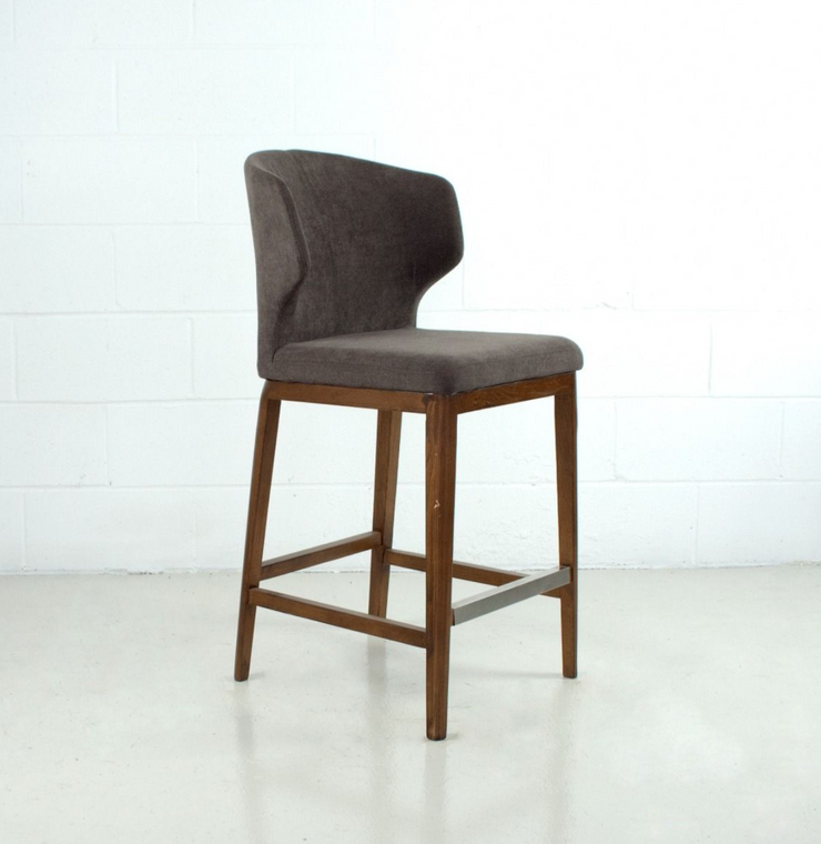 Thurston Fabric Stool With Wood Base