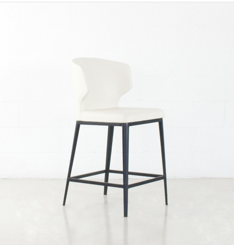 Thurston Leatherette Stool With Metal Base