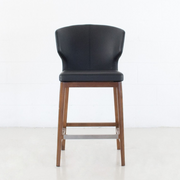 Thurston Leatherette Stool With Wood Base