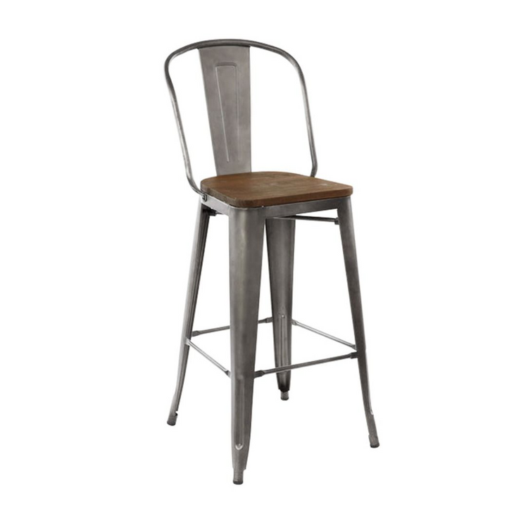 Rochelle High Back Stool With Wood Seat