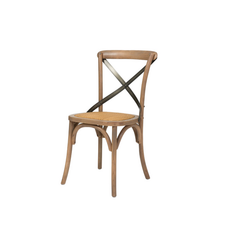 Cross Back Chair with Rattan Seat