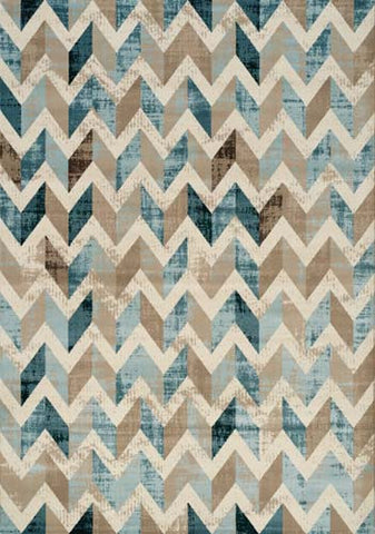 Villa Blue Brown Cream Chevron Floor Cloth Rug