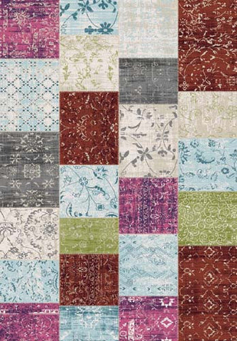 Villa Multi Patchwork Floor Cloth Rug