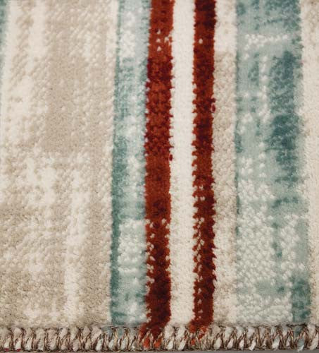 Villa Pink Brown Barcode Floor Cloth Rug