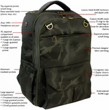 Green Camouflage Backpack Diaper Bag Weekend Bag Multi-Function Backpack