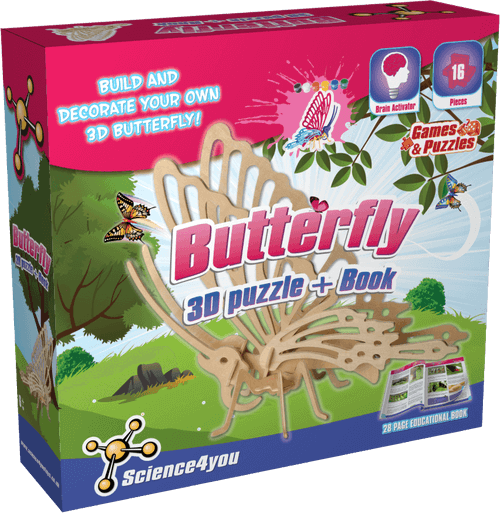 3D Wooden Butterfly Puzzle Kit front side