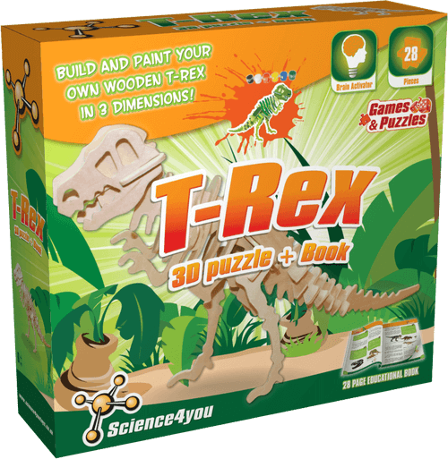 3D Wooden T-Rex Puzzle Kit front side