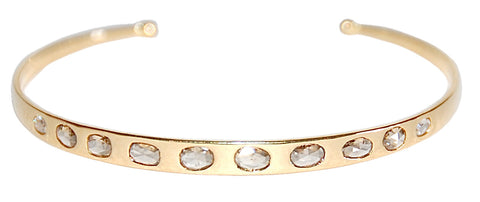 18kt Yellow gold rose cut diamond cuff