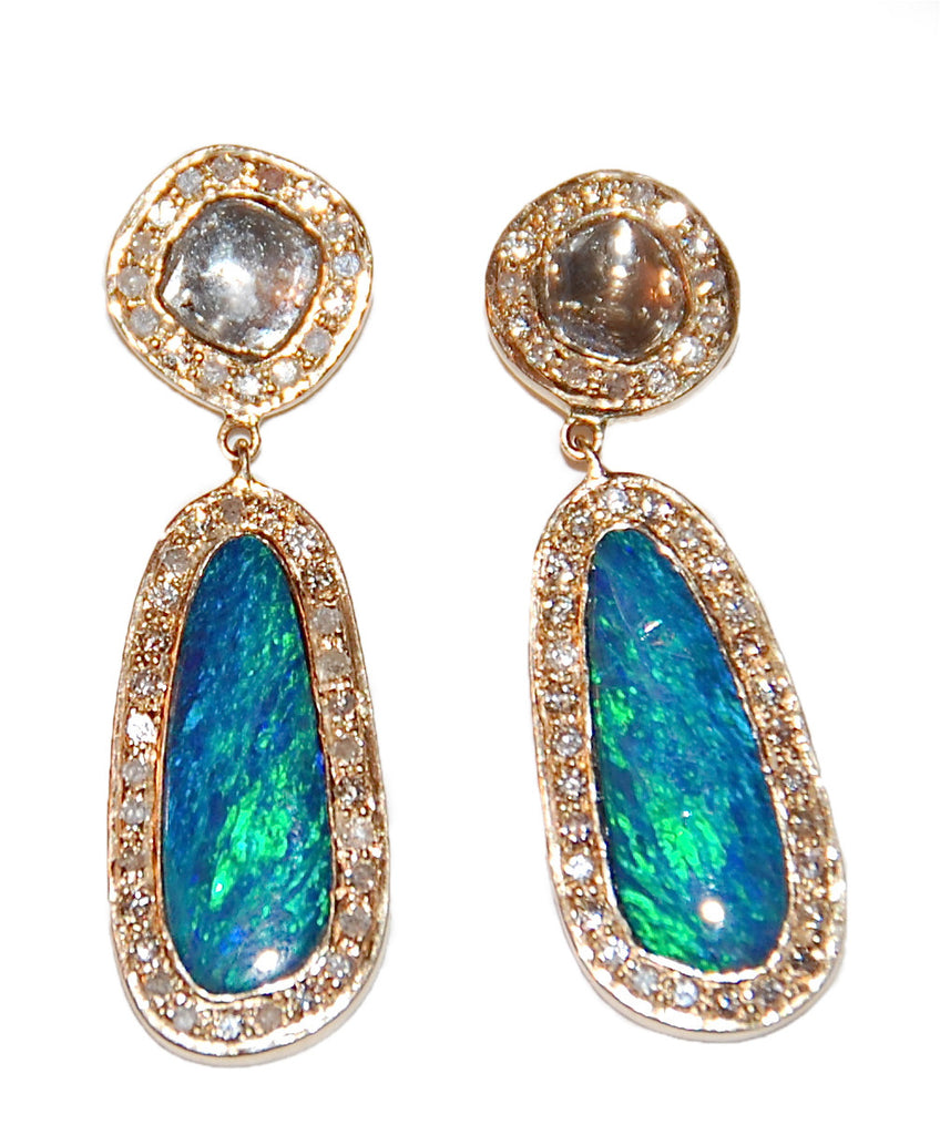 Opal pave earring
