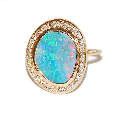 Blue red opal with paved diamond ring