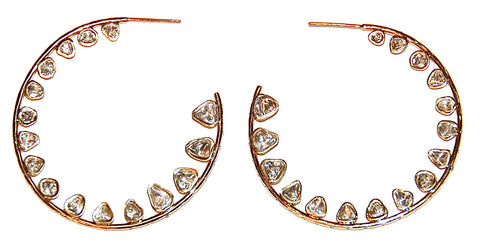 Mine cut diamonds hoop wave earrings