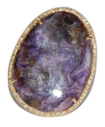 18kt Charoite with paved diamond ring