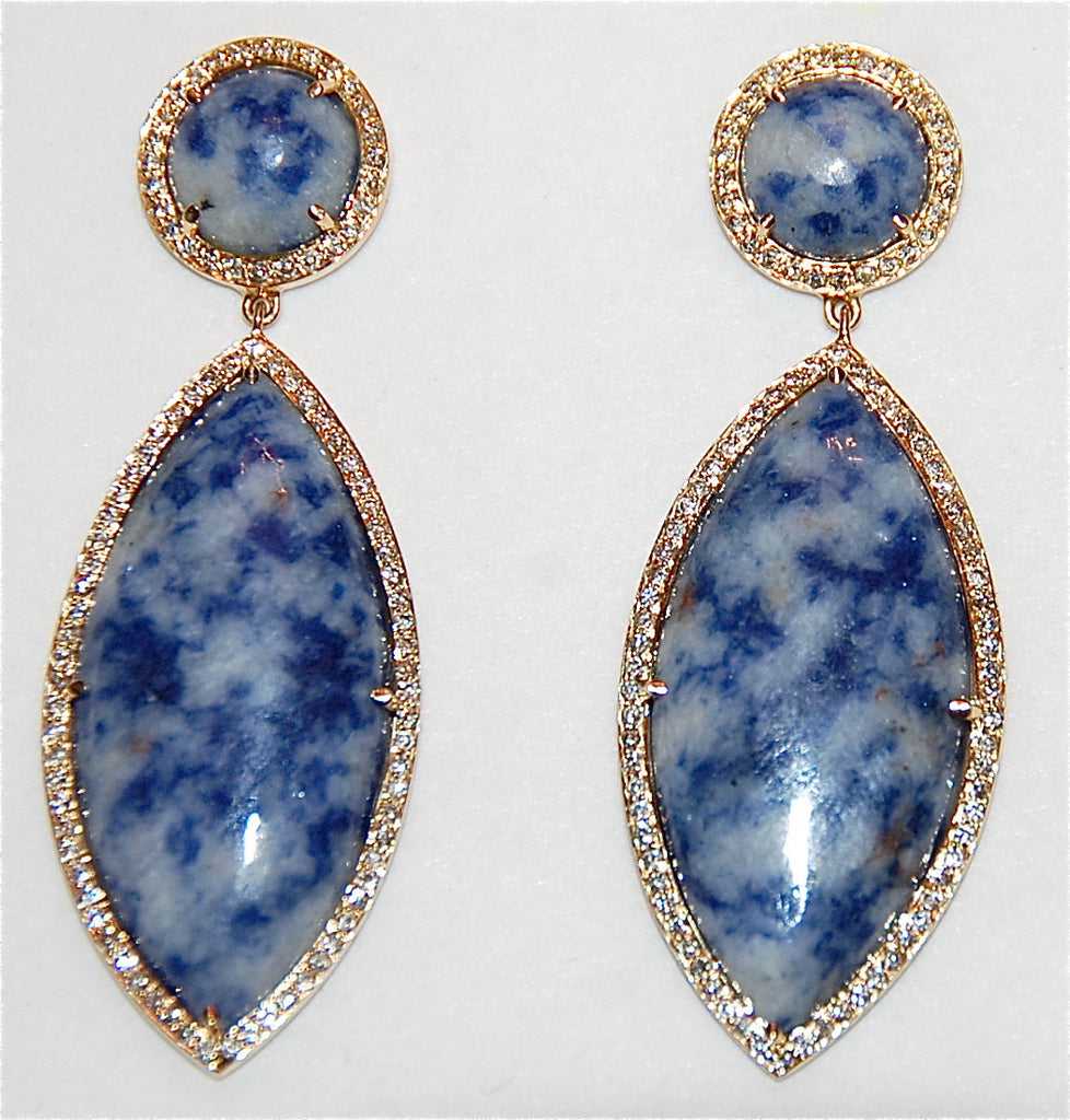 18kt Gold azurite paved diamond marquis earing