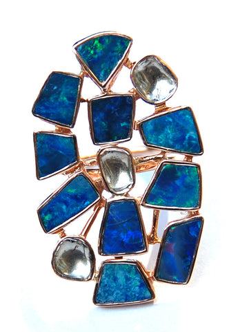 Mosaic blue and green opal with 3 grand polki diamond