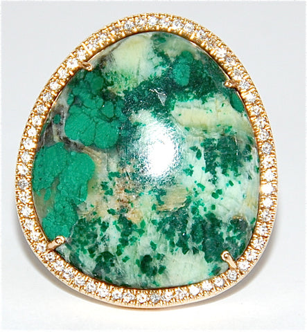 18kt Chrysocolla paved diamond ring