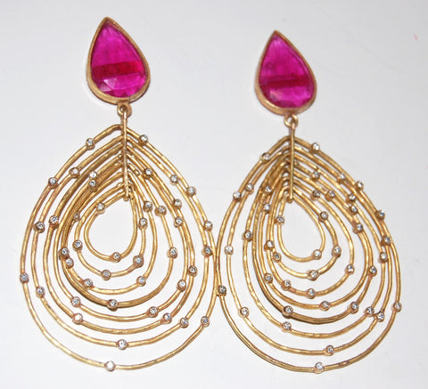 Ruby tear multi hoop earring