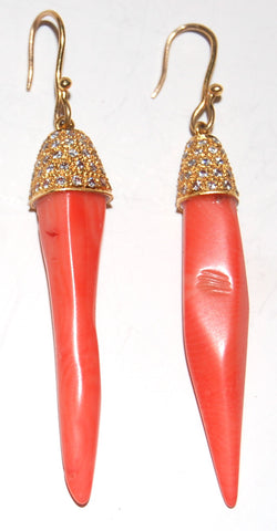 Coral diamond spear earring