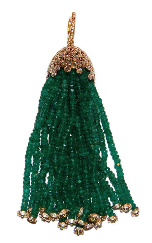 Waterfall green emerald tassel with rose cut diamonds
